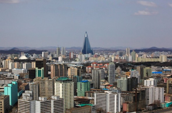 The 105-storey Ryugyong Hotel, the highest building under construction in North Korea, is seen in Pyongyang